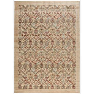 Nourison Graphic Illusions Light Gold Brocade Multi Rug (7'9 x 10'10)