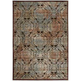 Nourison Graphic Illusions Chocolate Antique Damask Multi Rug (7'9 x 10'10)