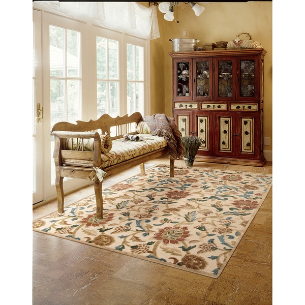 Nourison Graphic Illusions Floral Light Gold Rug (7'9 x 10'10)