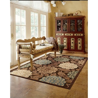 Nourison Graphic Illusions Floral Pastel Mutli Color Rug (7'9 x 10'10)