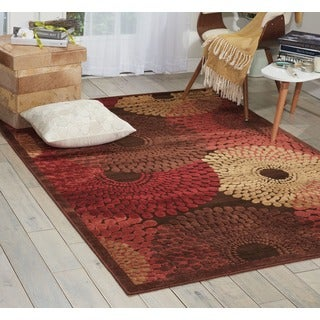 Nourison Graphic Illusions Circular Brown Multi Color Rug (7'9 x 10'10)