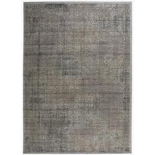 Nourison Graphic Illusions Grey Antique Damask Pattern Rug (7'9 x 10'10)