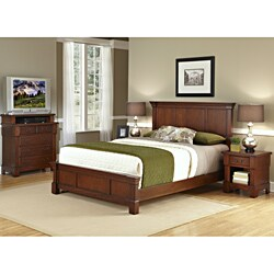 The Aspen Collection Rustic Cherry King Bed, Media Chest & Night Stand Set