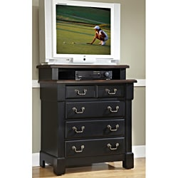 The Aspen Collection Rustic Cherry and Black Media Chest