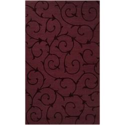 Hand-crafted Burgundy Solid Swirl Bristol Wool Rug (2' x 3')
