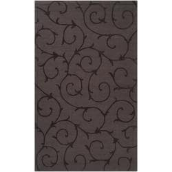 Handcrafted Dark Brown Solid Bristol Wool Accent Rug (2' x 3')