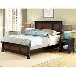 The Aspen Collection Rustic Cherry & Black Queen Bed & Night Stand
