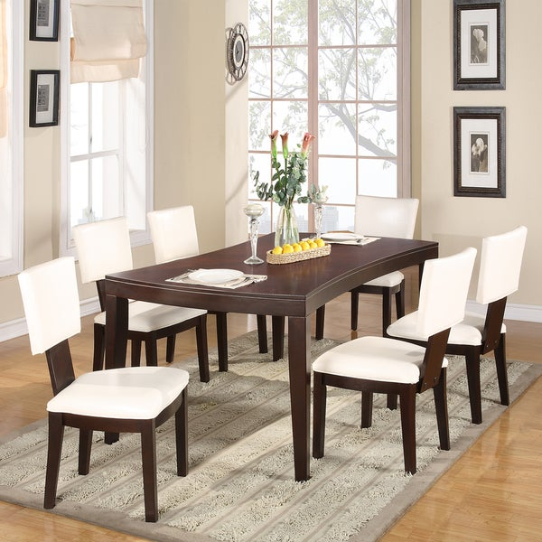 Diona 7-Piece Warm Espresso Dining Set