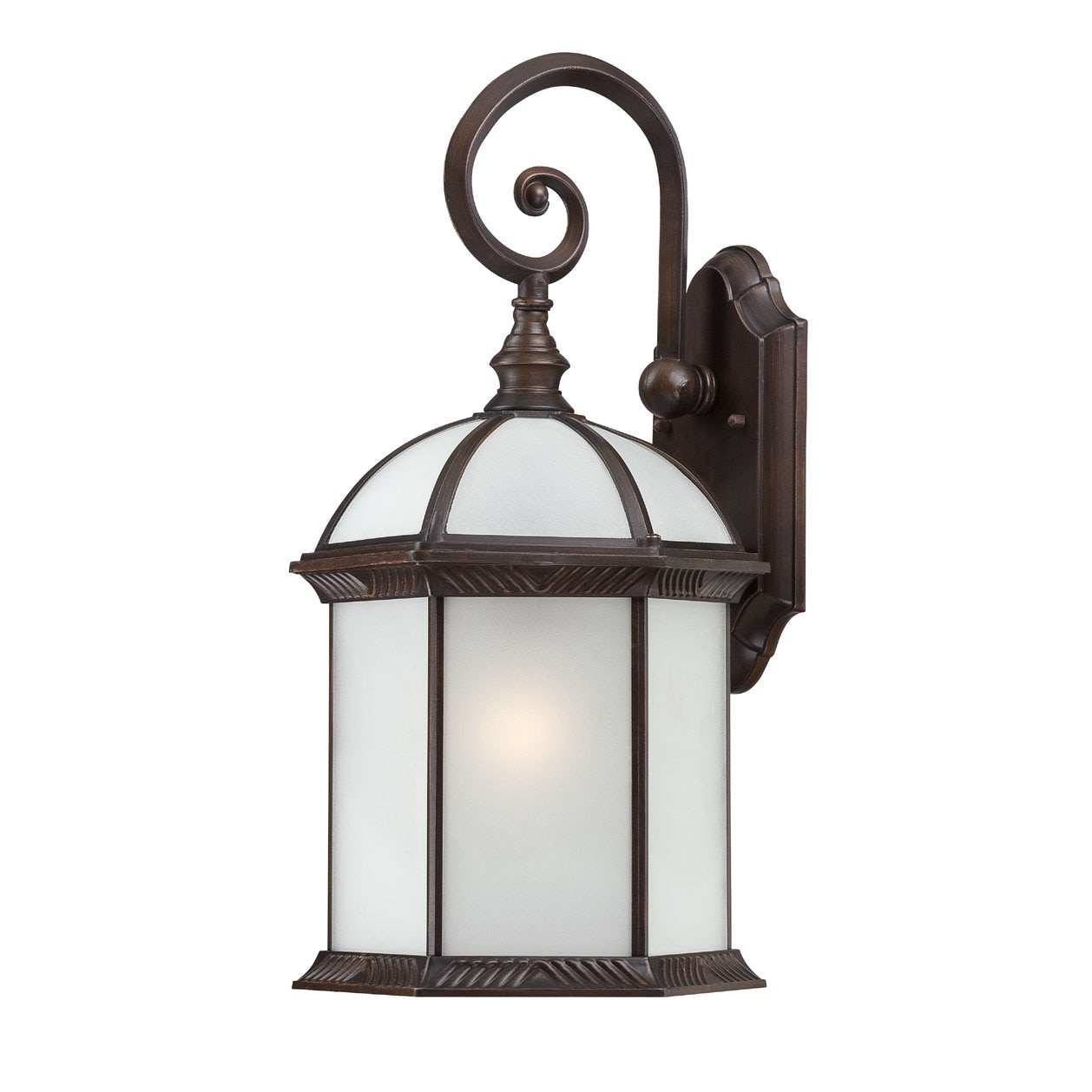 Nuvo Boxwood 1-Light Rustic Bronze Frosted Glass 19-Inch Wall Sconce