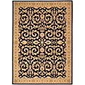 Arabesque Juliard Cannon Black Wool Rug (5'6 x 7'5)