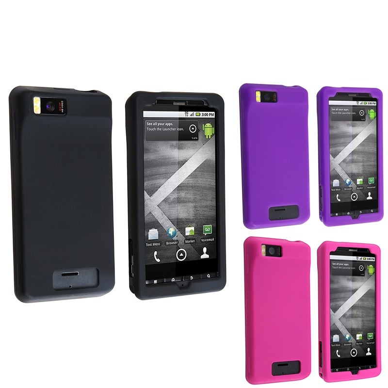 INSTEN Black/ Pink/ Purple Phone Case Cover for Motorola Droid X MB810/ X2 Daytona