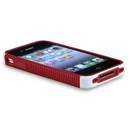 Red/ White Hybrid Case/ Mirror Screen Protector for Apple iPhone 4/ 4S