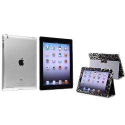 BasAcc Black/ White Leopard Leather Case/ Crystal Case for Apple� iPad 2/ 3/ 4