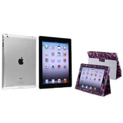 Black/ Purple Leopard Leather Case/ Crystal Case for Apple� iPad 2/ 3