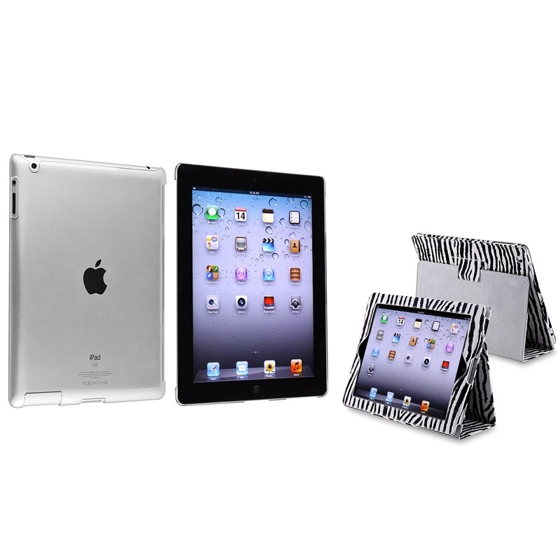 Black/ White Zebra Leather Case/ Crystal Case for Apple® iPad 2/ 3