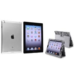Black/ White Zebra Leather Case/ Crystal Case for Apple iPad 2/ 3