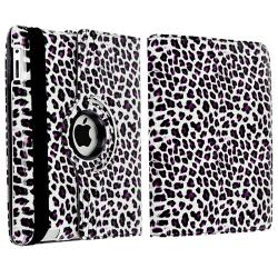 White/ Purple Leopard Leather Case/ Crystal Case for Apple® iPad 2/ 3