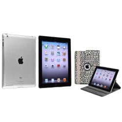 BasAcc White/ Black Leopard Leather Case/ Crystal Case for Apple� iPad 2/ 3/ 4