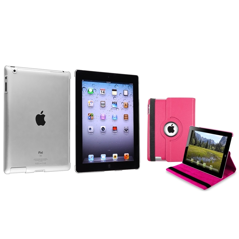 INSTEN Hot Pink 360 Swivel Leather Tablet Case Cover/ Crystal Tablet Case Cover for Apple iPad 2/ 3/ 4
