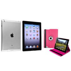 BasAcc Hot Pink 360 Swivel Leather Case/ Crystal Case for Apple� iPad 2/ 3/ 4