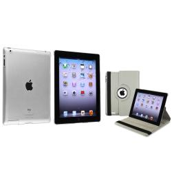 Grey 360 Swivel Leather Case/ Crystal Case for Apple iPad 2/ 3
