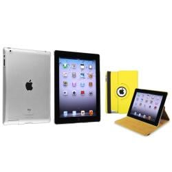 Yellow 360 Swivel Leather Case/ Crystal Case for Apple iPad 2/ 3