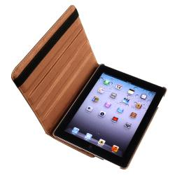 Brown 360 Swivel Leather Case/ Crystal Case for Apple� iPad 2/ 3