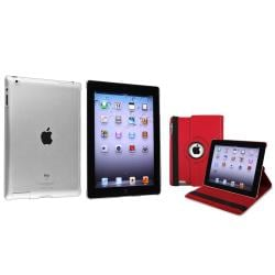 Red 360 Swivel Leather Case/ Crystal Case for Apple� iPad 2/ 3