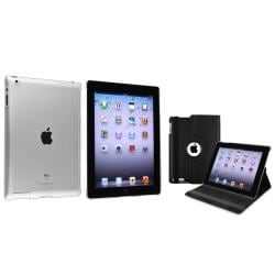 BasAcc Black 360 Swivel Leather Case/ Crystal Case for Apple� iPad 2/ 3/ 4