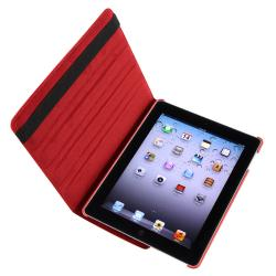 INSTEN Red Leather Tablet Case Cover/ Crystal Tablet Case Cover/ Screen Protector for Apple iPad 2/ 3