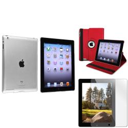Red Leather Case/ Crystal Case/ Screen Protector for Apple� iPad 2/ 3