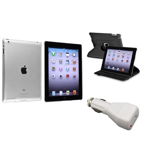 INSTEN Leather Tablet Case Cover/ Crystal Tablet Case Cover/ Car Charger for Apple iPad 2/ 3/ 4