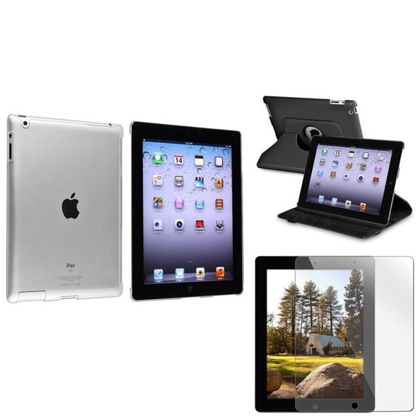 INSTEN Black Leather Tablet Case Cover/ Crystal Tablet Case Cover/ Screen Protector for Apple iPad 3/ 4