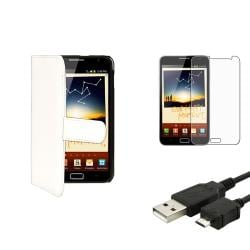 White Case/Screen Protector/Cable Accessory Set for Samsung Galaxy Note N7000