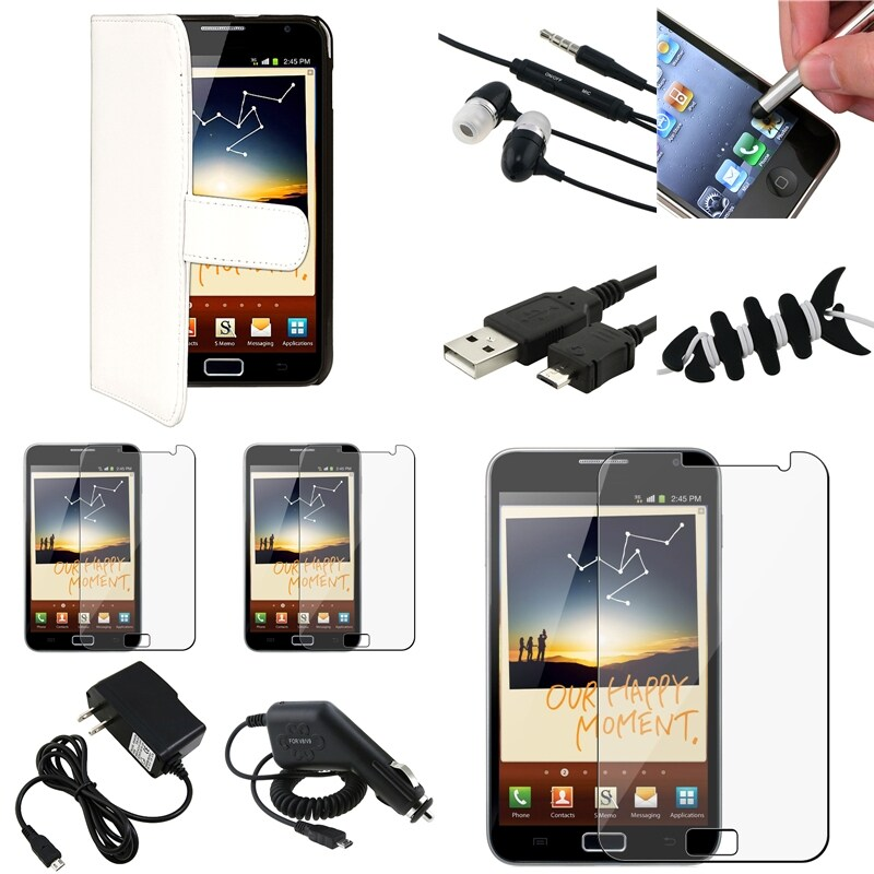 Black Case/Screen Protector/Charger/ Stylus for Samsung© Galaxy Note N7000