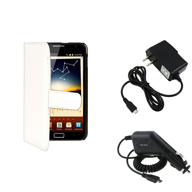 INSTEN White Leather Wallet Case Cover/ Chargers for Samsung Galaxy Note N7000