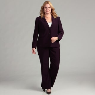 Tahari ASL Women's Plus Herringbone Pant Suit FINAL SALE