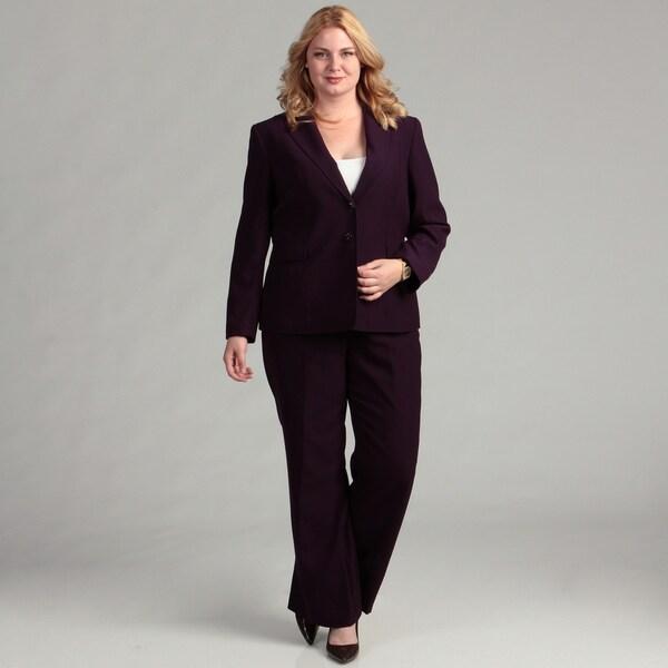 Tahari ASL Women's Plus Herringbone Pant Suit FINAL SALE