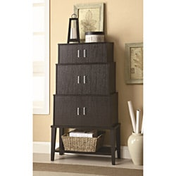 Comtemporary Cappuccino Finish Storage Accent Cabinet Bookshelf