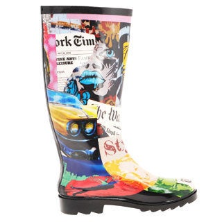 Henry Ferrera Women's 'Face' Newspaper Print Rubber Rain Boots