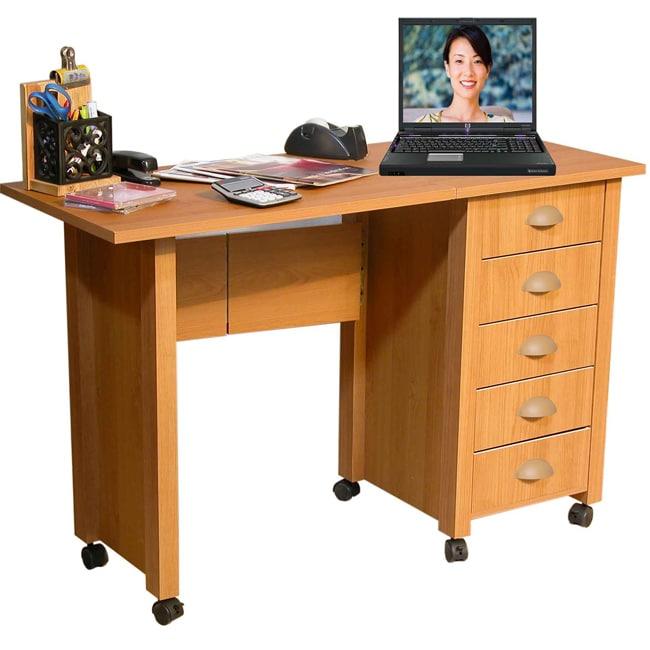 Venture Horizon Oak Mobile Desk and Craft Center