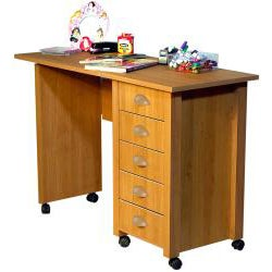 Venture Horizon Oak Mobile Desk and Craft Center