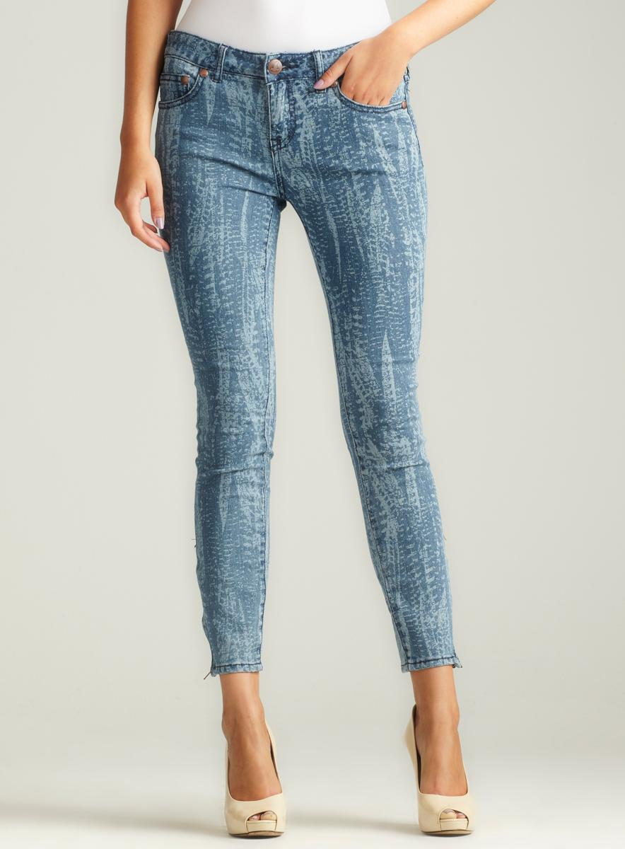 Free People Feather Printed Cropped Skinny