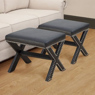 Zoey Crossed Legs Black Faux Leather Ottoman Set of 2