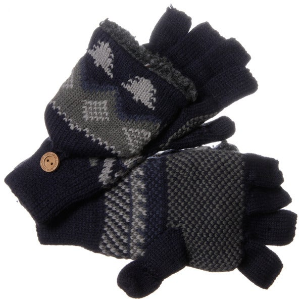 Muk Luks Men's Nordic Knit Blue Flip Sherpa Fingerless Gloves
