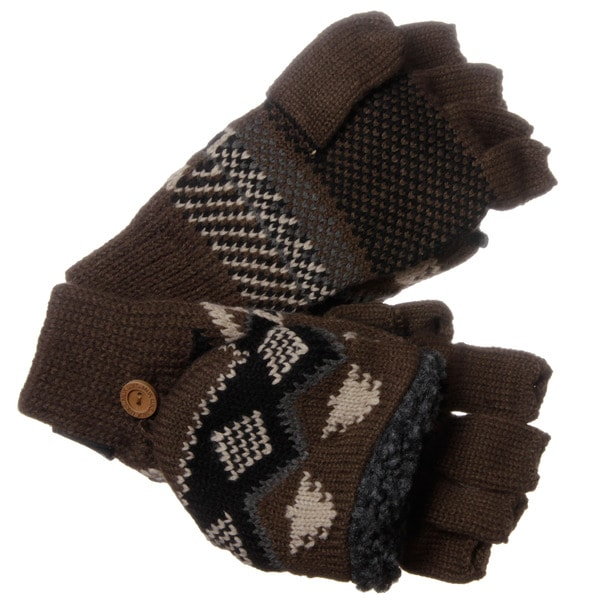 Muk Luks Men's Nordic Knit Neutral Flip Sherpa Fingerless Gloves