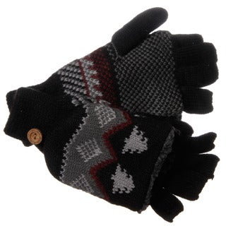 Muk Luks Men's Nordic Knit Black Flip Sherpa Fingerless Gloves