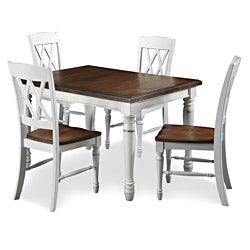 Monarch Rectangular Dining Table with Four Double X-back Chairs