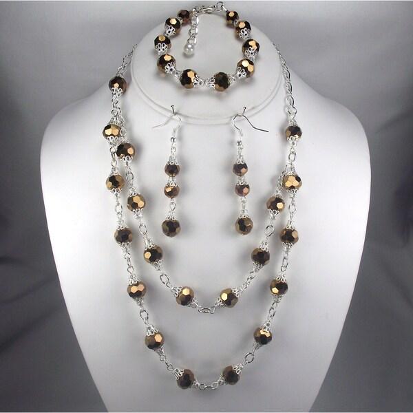Copper Crystal Matching Wedding Jewelry Set
