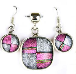 Sterling Silver Dichroic Glass Pendant and Earring Set (Mexico)